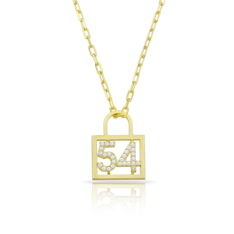 Custom Number or Initial Lock Necklace JEWELRY The Sis Kiss Gold Two Initials/ Numbers