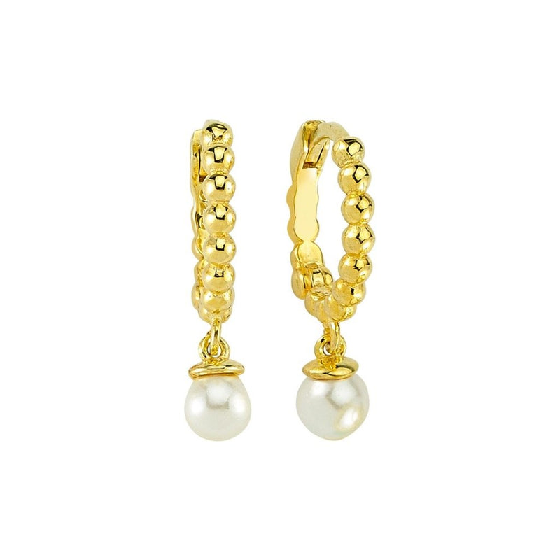 Gold and Single Pearl Huggie Earrings JEWELRY The Sis Kiss