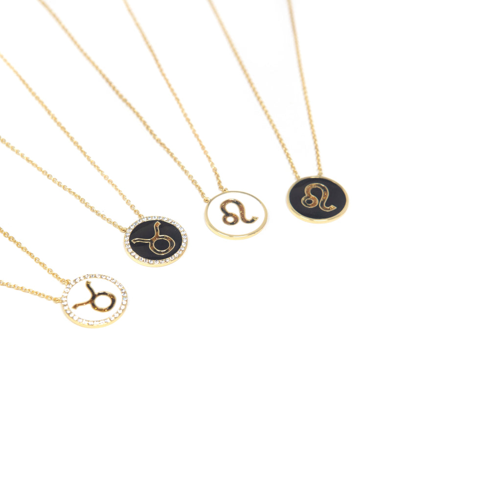 Zodiac Leopard and Enamel Circle Pendant Necklaces JEWELRY The Sis Kiss