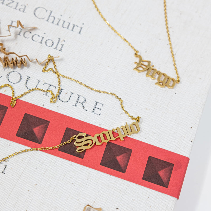 Zodiac Nameplate Necklaces JEWELRY The Sis Kiss