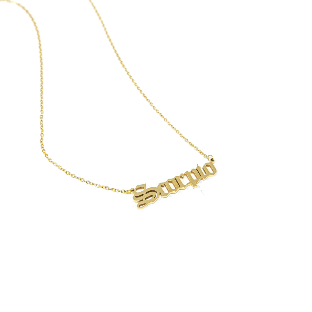Zodiac Nameplate Necklaces JEWELRY The Sis Kiss Scorpio