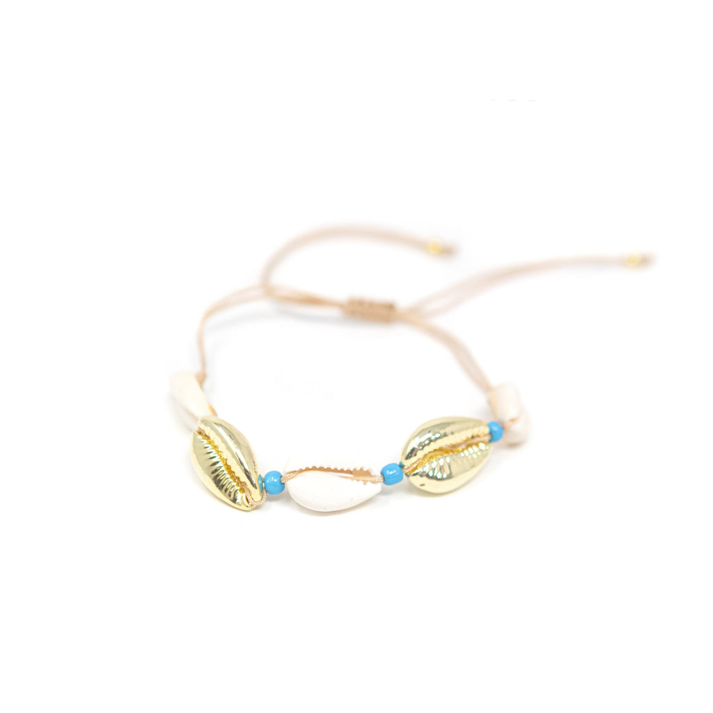 Gold and Neutral Shell Bracelet with Turquoise Beads JEWELRY The Sis Kiss