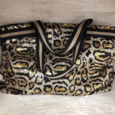 Sparkle Weekender Bag in Leopard Print ACCESSORY The Sis Kiss Leopard Print