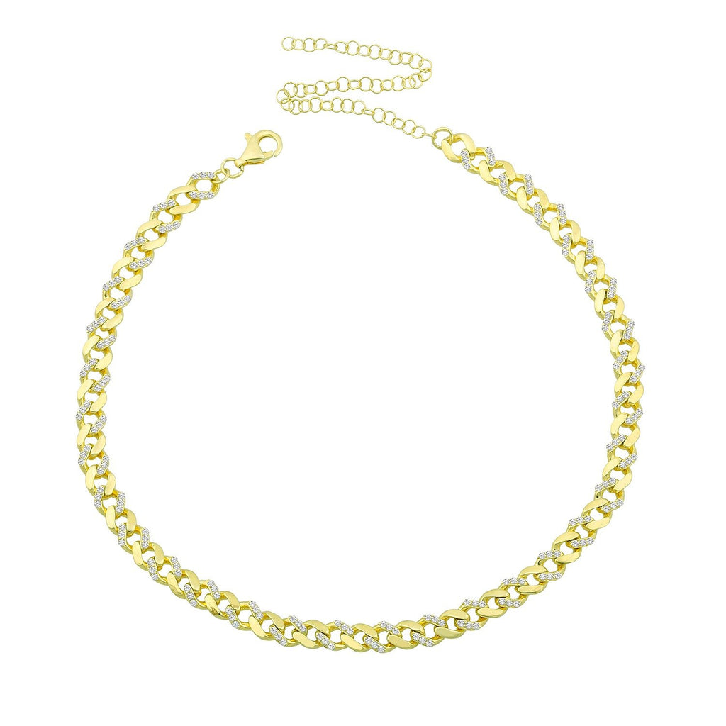 Alternating Crystal and Gold Chain Choker JEWELRY The Sis Kiss