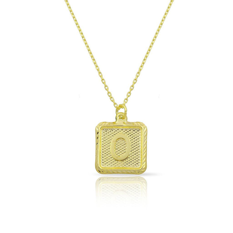 Custom Forever Initial Pendants JEWELRY The Sis Kiss Square Gold
