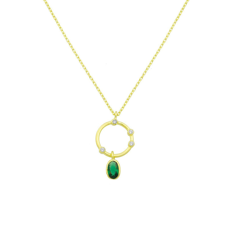 Eternity Drop Necklace in Emerald or Crystal necklace The Sis Kiss Emerald
