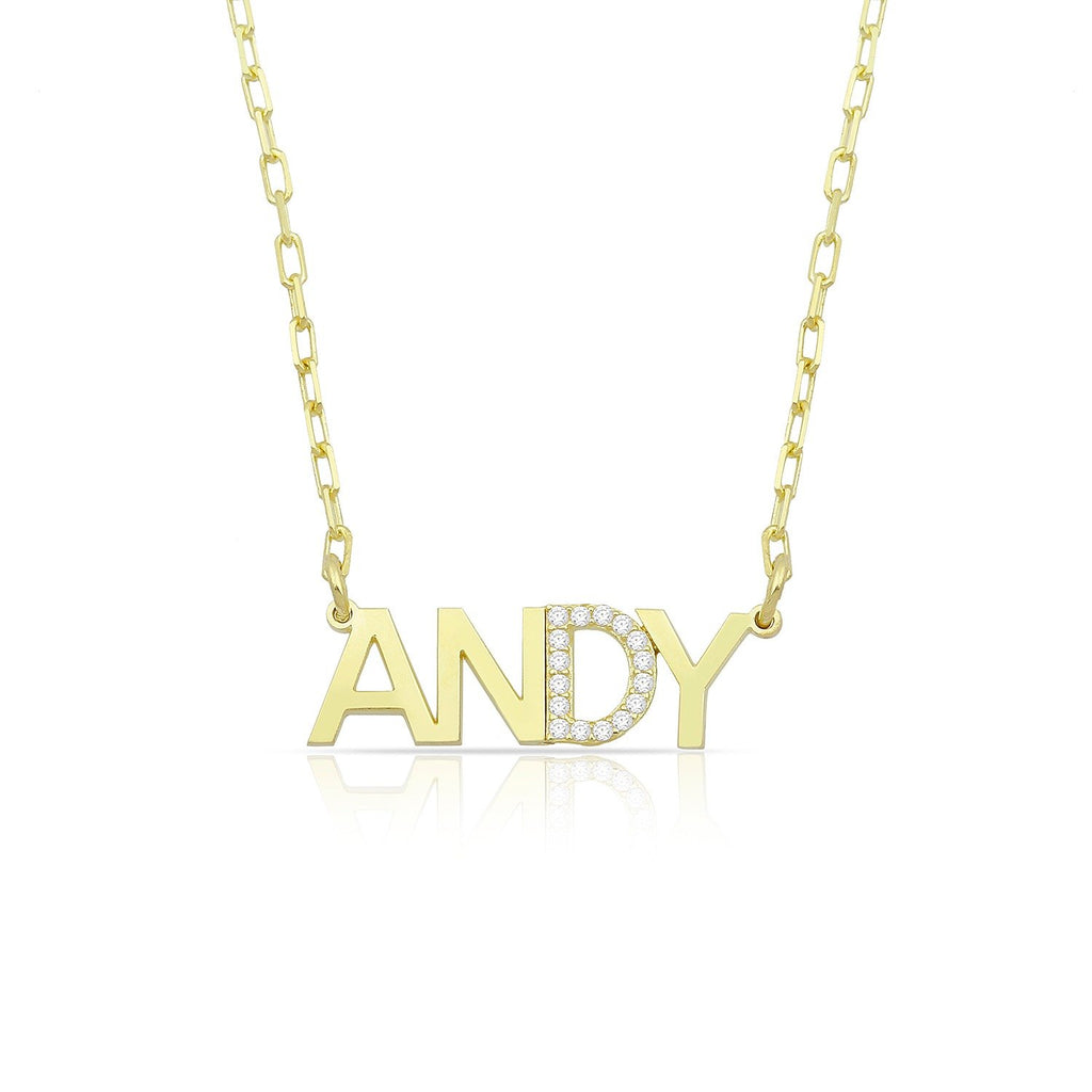 Custom Classic Nameplate Necklace with Crystal Detail JEWELRY The Sis Kiss