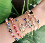 Rainbow Evil Eye and Charm Bracelet JEWELRY The Sis Kiss