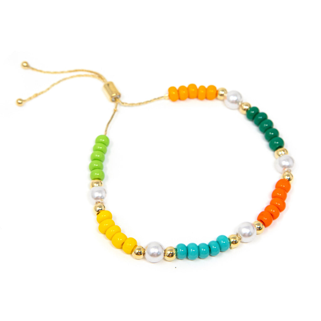 Rainbow and Pearl Adjustable Bracelet