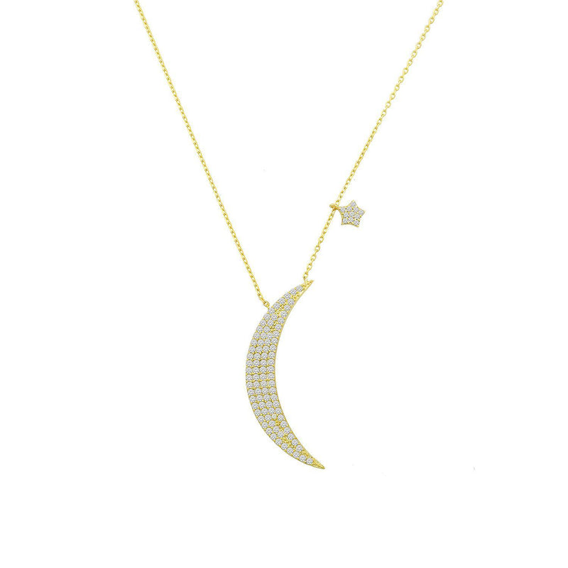 Crystal Crescent Moon and Tiny Star Necklace