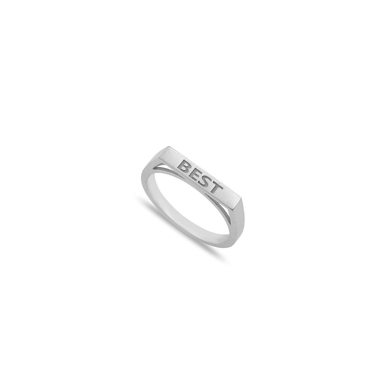 Custom Stackable Bar Ring JEWELRY The Sis Kiss Silver Size 6