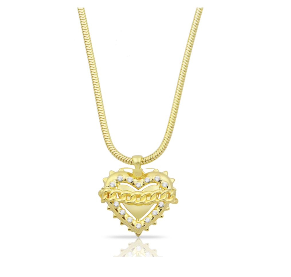 Chained Heart Pendant Necklace JEWELRY The Sis Kiss