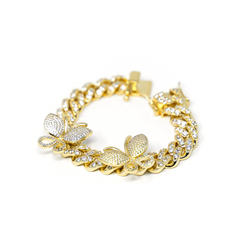 Crystal Cuban Chain and Butterflies Bracelet JEWELRY The Sis Kiss