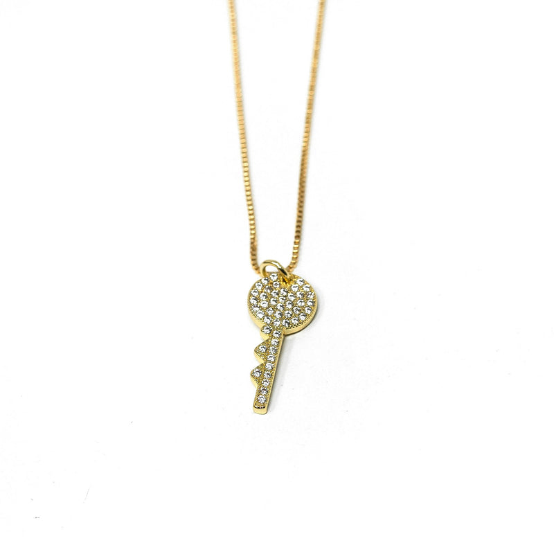 Crystal Key Pendant Necklace JEWELRY The Sis Kiss