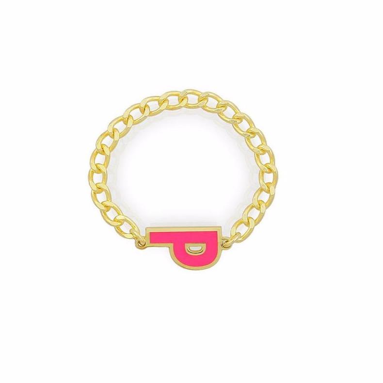 Custom Enamel Chain Link Ring JEWELRY The Sis Kiss Gold Hot Pink Flat Link Chain