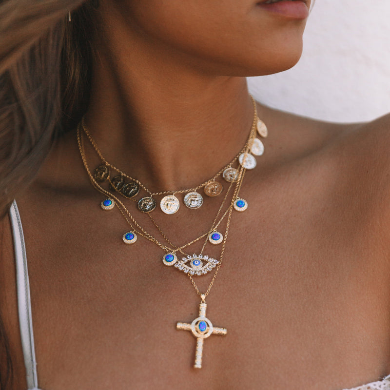 Five Blue Opal Charms Necklace
