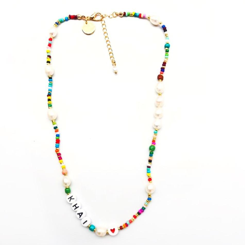 Custom Rainbow and Pearl Beaded Necklace JEWELRY The Sis Kiss