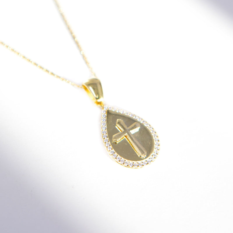 Teardrop Cross Pendant necklace The Sis Kiss