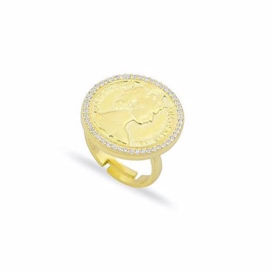 Queen Coin and Pave Adjustable Ring JEWELRY The Sis Kiss