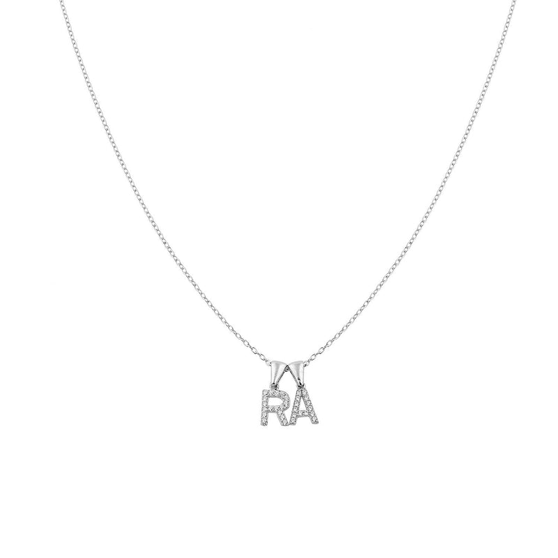Custom Layered Initial Necklace JEWELRY The Sis Kiss Two Initials Silver with Crystals