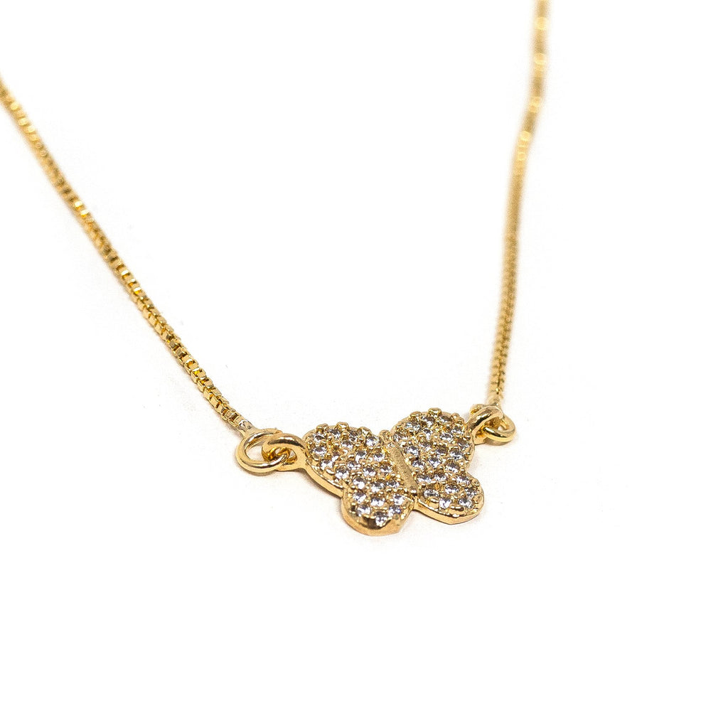 Dainty Crystal Butterfly Necklace JEWELRY The Sis Kiss
