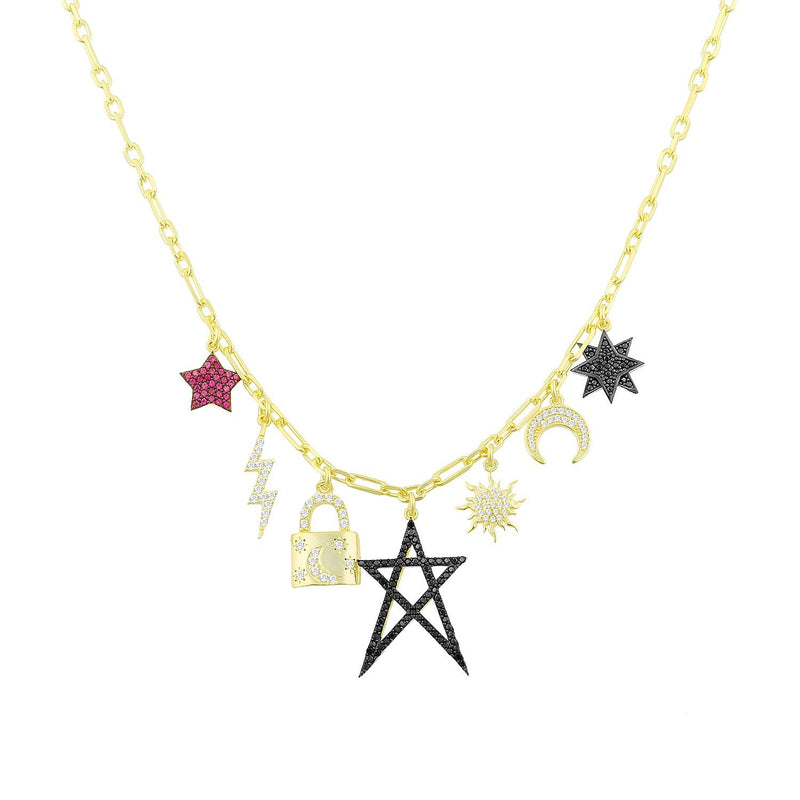 Stars Lock Lightning Charm Necklace necklace The Sis Kiss