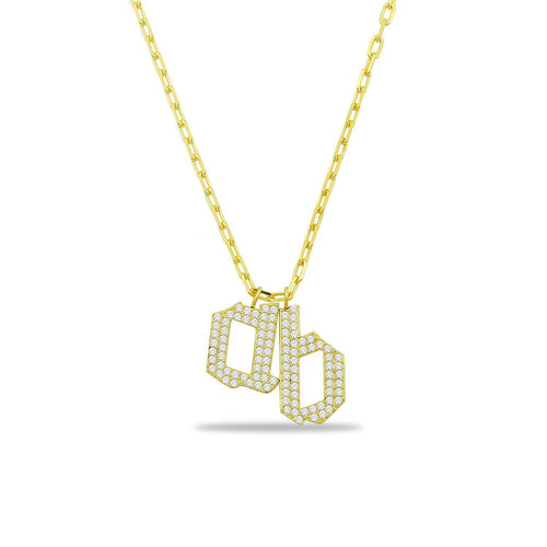 Custom Edgy Crystal Initial Necklace JEWELRY The Sis Kiss Gold with Crystals Two Charms