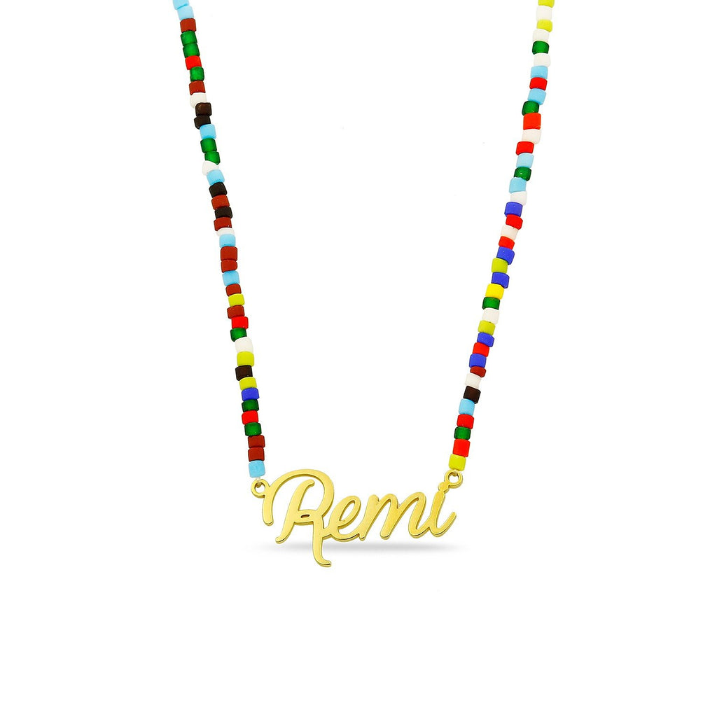 Custom Nameplate with Rainbow Necklace