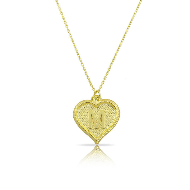 Custom Forever Initial Pendants JEWELRY The Sis Kiss Heart Gold