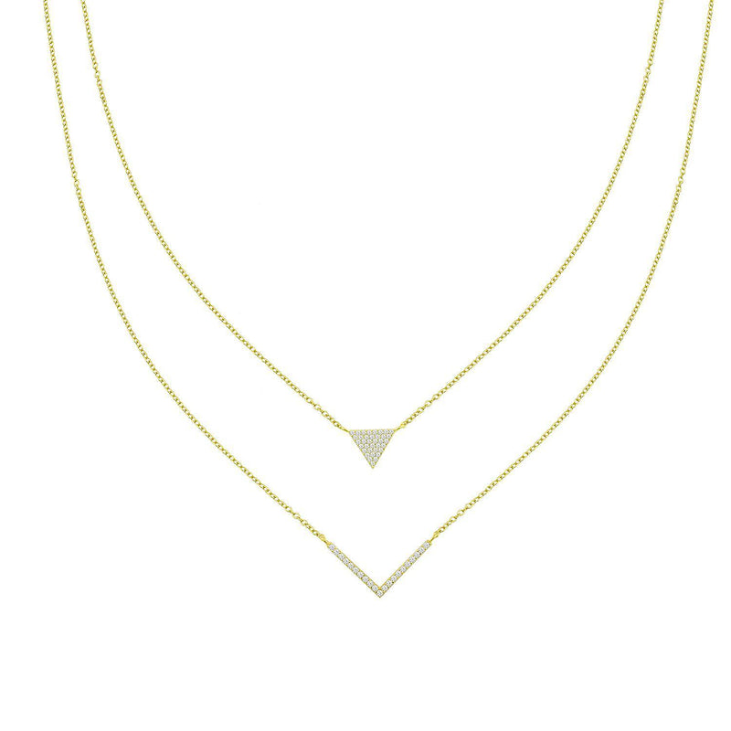 Triangle and Arrow Layered Necklace JEWELRY The Sis Kiss