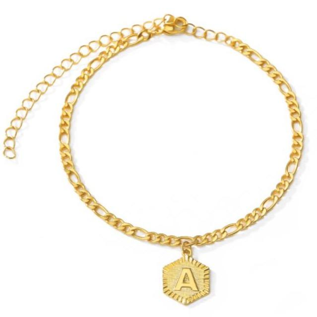 Gold Hex Initial Anklet JEWELRY The Sis Kiss