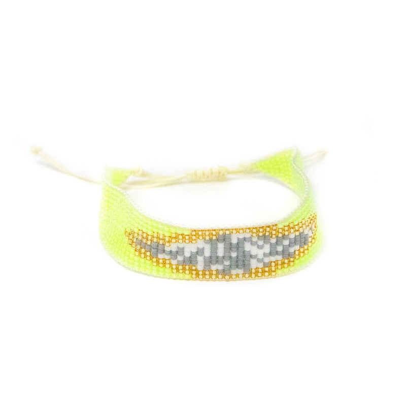 Woven Beaded Bracelets JEWELRY The Sis Kiss Yellow