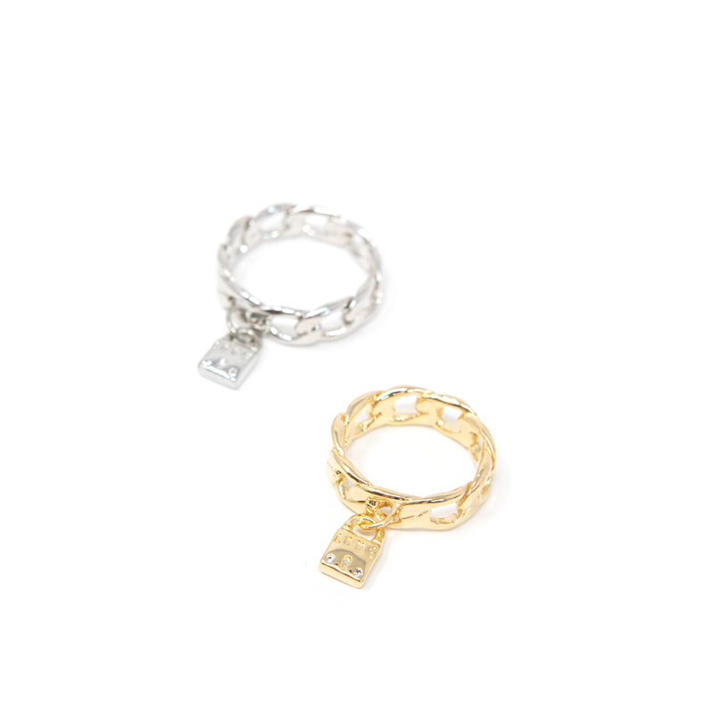 Chain Link Rings with Lock Charms ACCESSORY The Sis Kiss