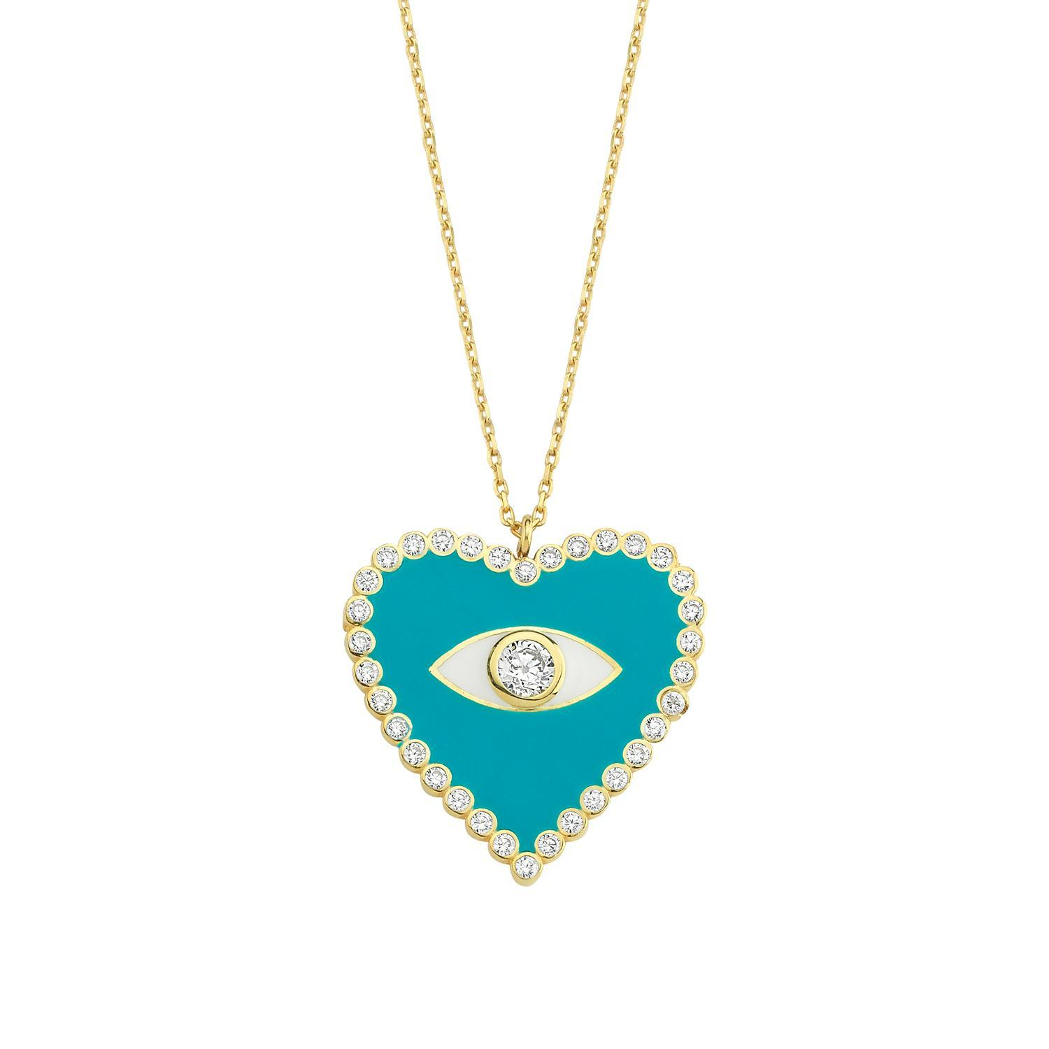 Teal Heart and Crystal Evil Eye Pendant Necklace