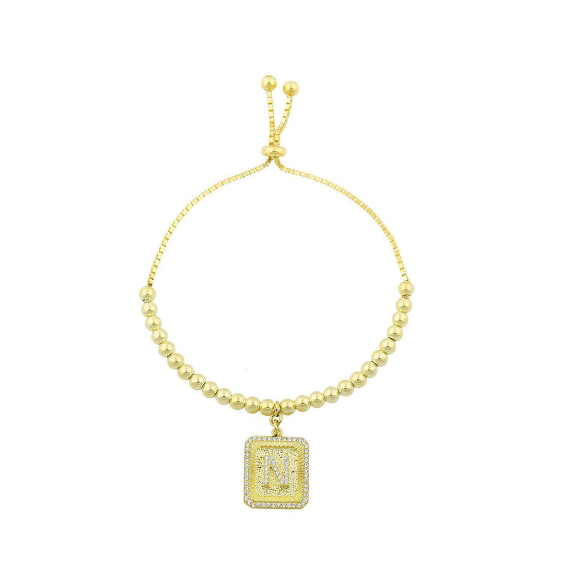 Square Initial Bracelet in Gold