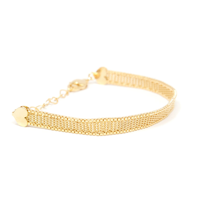 Gold Mesh + Heart Bracelet JEWELRY The Sis Kiss
