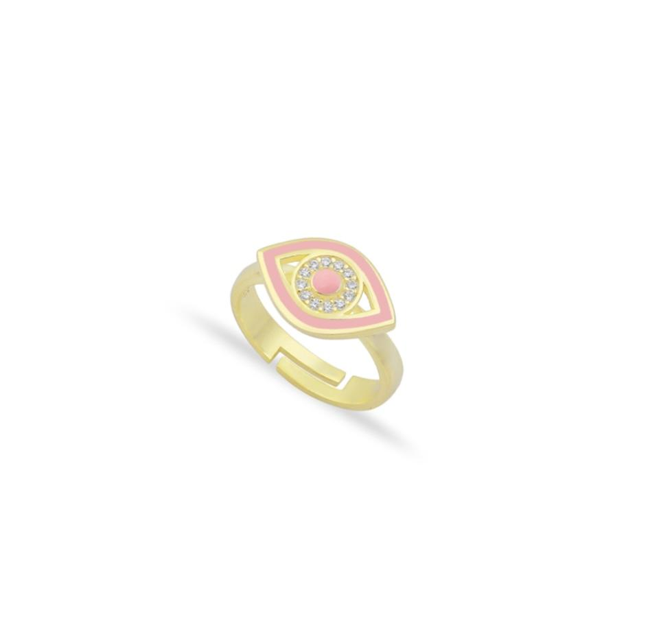 Gold and Pink Evil Eye Adjustable Ring JEWELRY The Sis Kiss