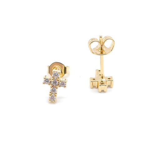 Mini cross crystal stud earrings