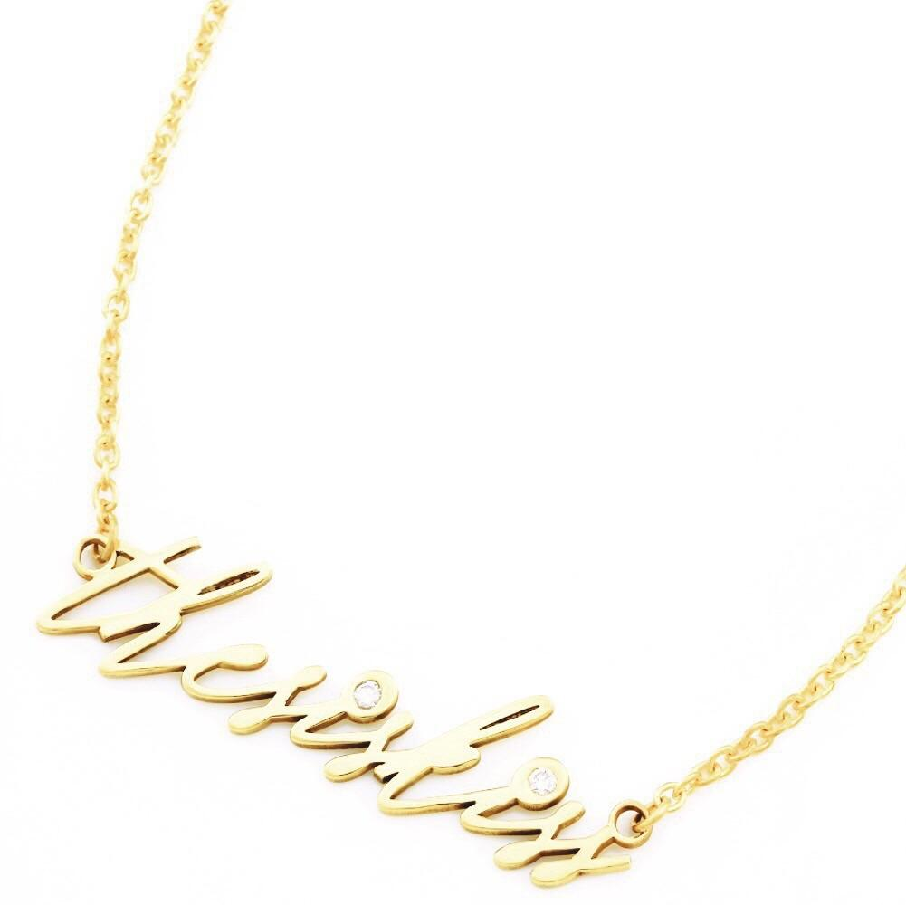 classic custom name plate necklace in gold with diamonds accents