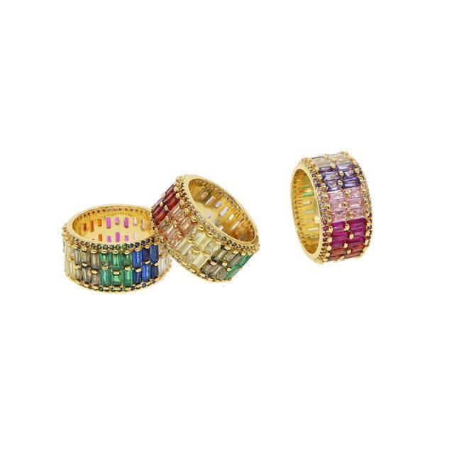 Double Layer Rainbow Eternity Band Ring The Sis Kiss
