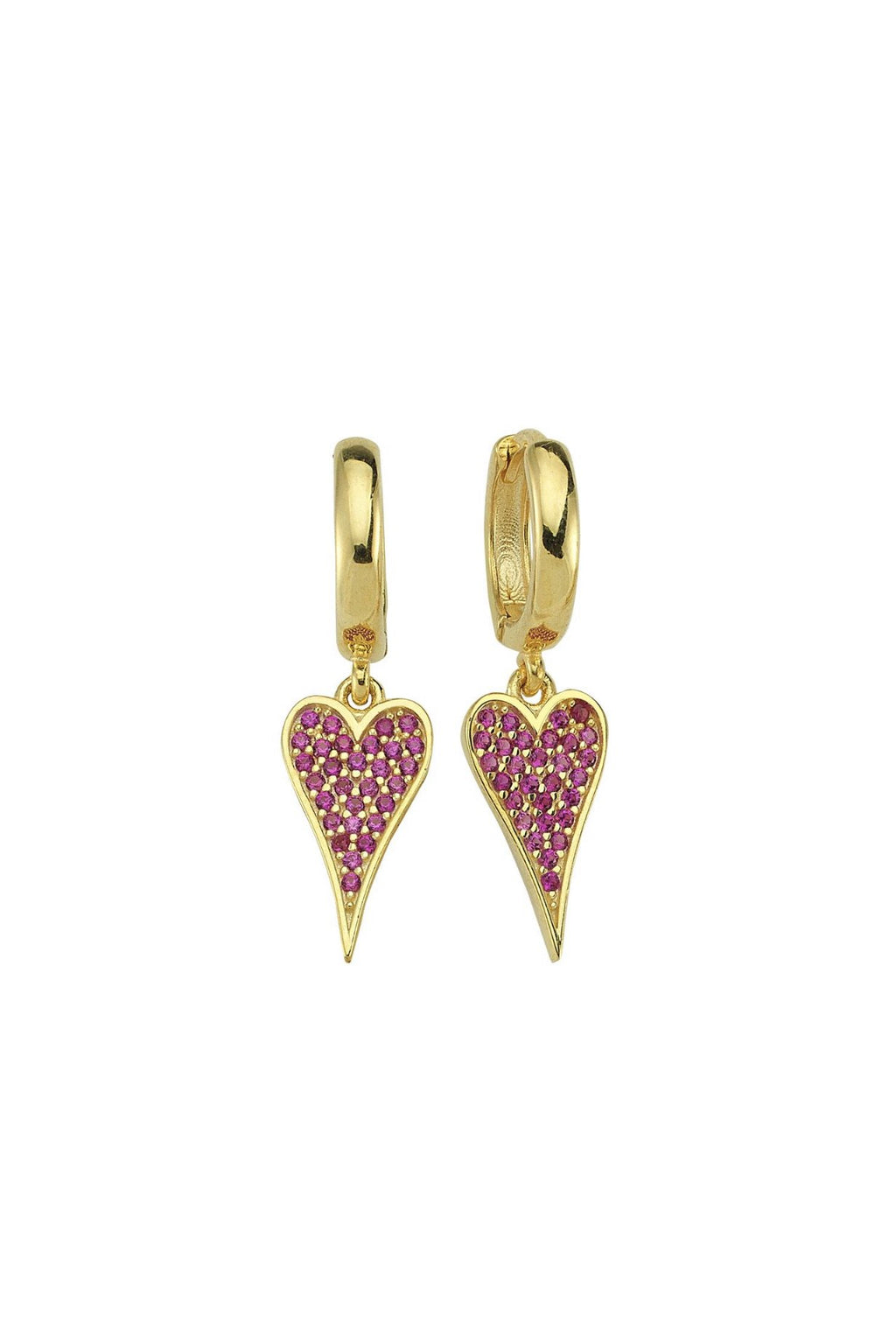 Pave Pink Heart Huggie Earrings JEWELRY The Sis Kiss