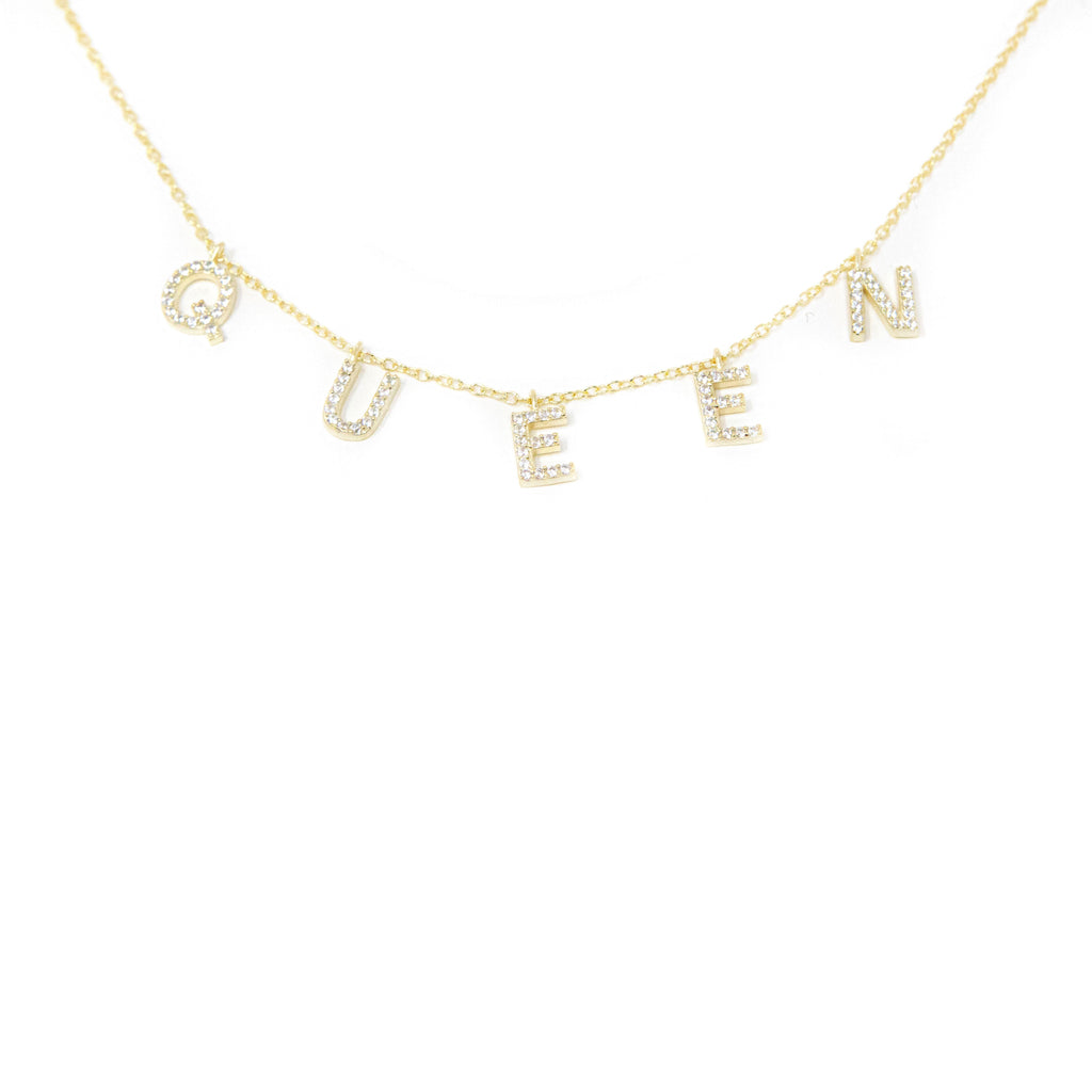 Ready To Ship It's All in a Name™ Necklace JEWELRY The Sis Kiss Queen Gold with Crystals
