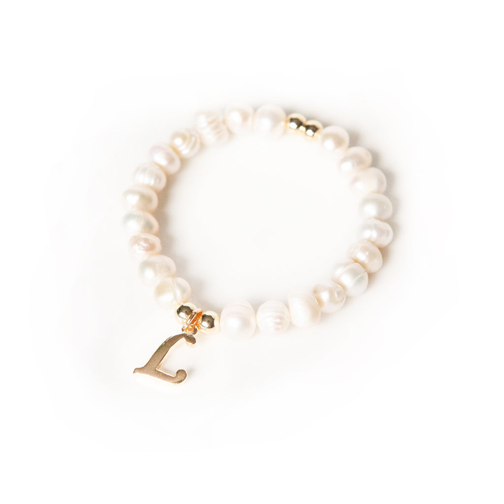 Initial Charm Pearl Stretch Bracelet JEWELRY The Sis Kiss