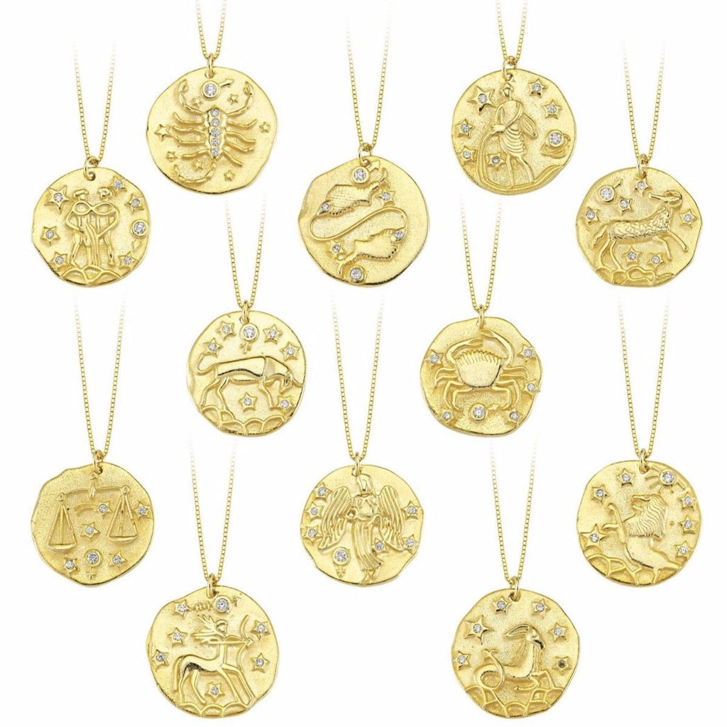 Gold Crystal Zodiac Coin Necklace
