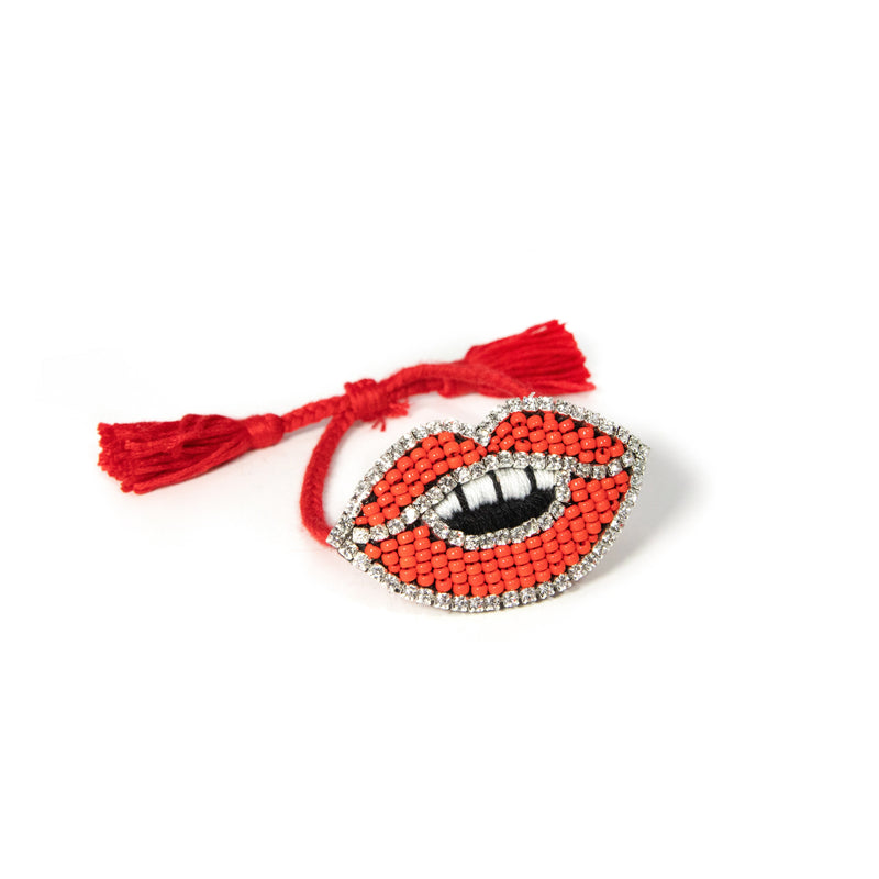 Adjustable BLING bracelets The Sis Kiss Red Lips
