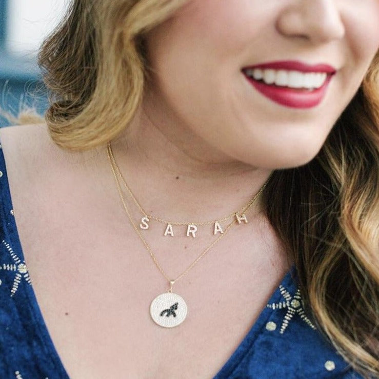 Perfect Pair- Personalized Necklace Duo: Custom It's All in a Name™ Necklace & Greek Goddess Coin JEWELRY The Sis Kiss