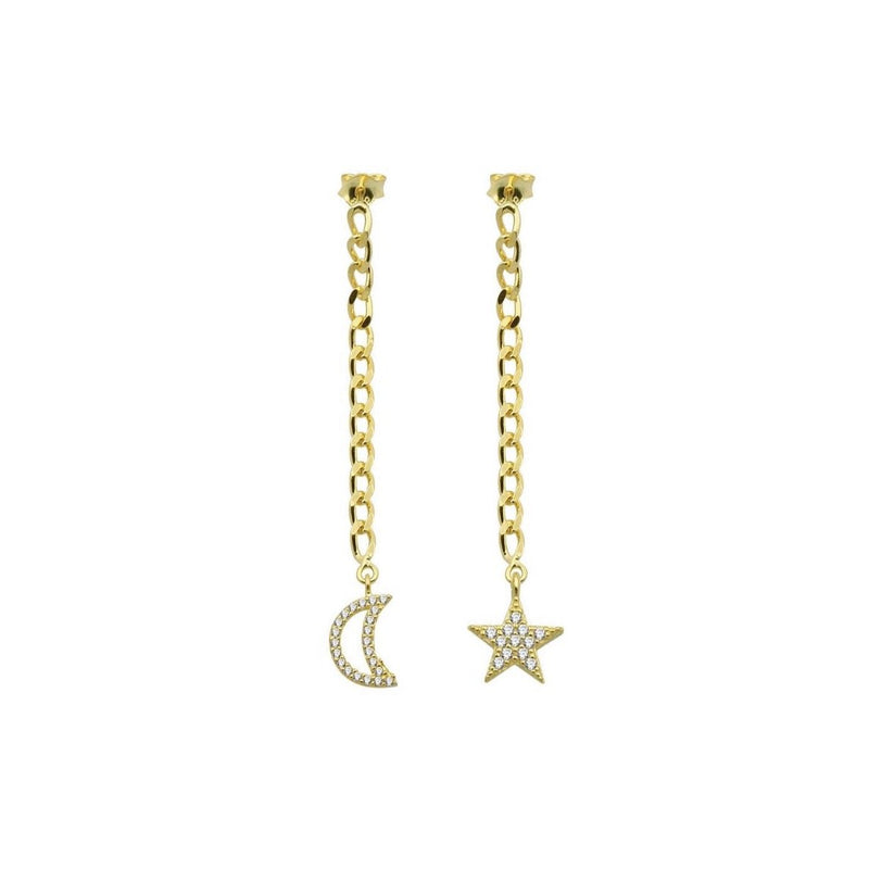 Moon/Star Chain Earrings