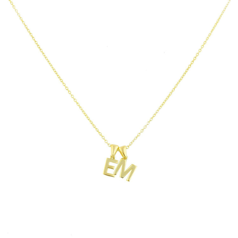 Custom Layered Initial Necklace JEWELRY The Sis Kiss Two Initials Gold No Crystals