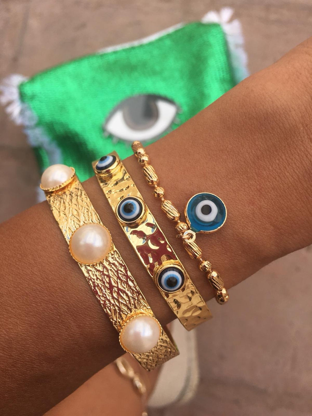 Hammered Evil Eye Cuff
