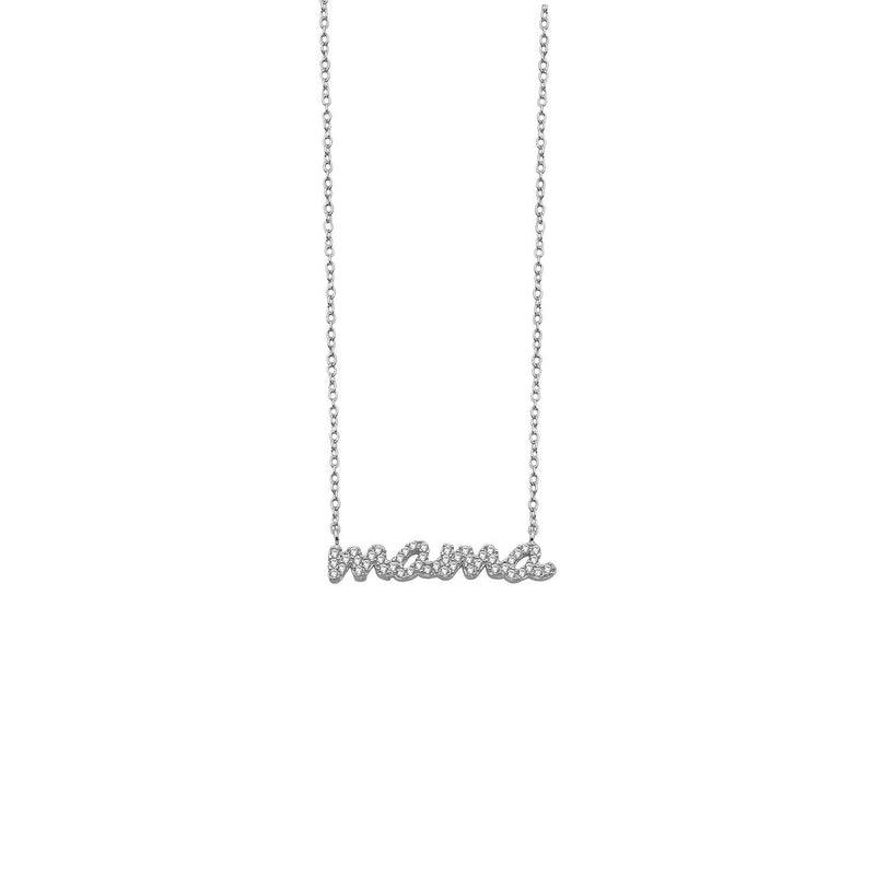 Crystal Script Mama Necklace JEWELRY The Sis Kiss Mama SILVER